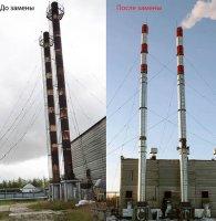Дымовые трубы котельной ЦПС-ЮБ до и после выполнения работ